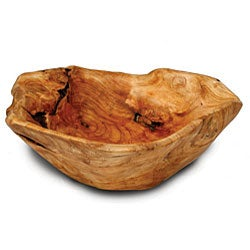 Handmade Fir Wood Rootworks Large Bowl with Root Servers (China)