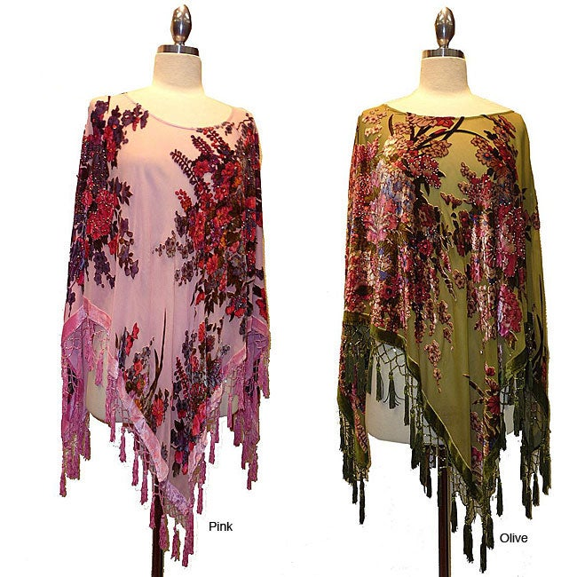 Embroidered Velvet and Silk Poncho