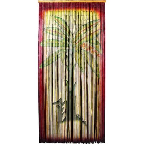 Handmade Decorative Multicolor Bamboo-beaded Banana-tree Curtain Screen (China)
