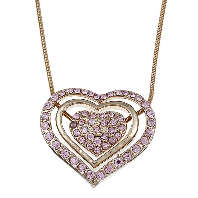 Gold Overlay 3-piece Sliding Heart Necklace - Thumbnail 0