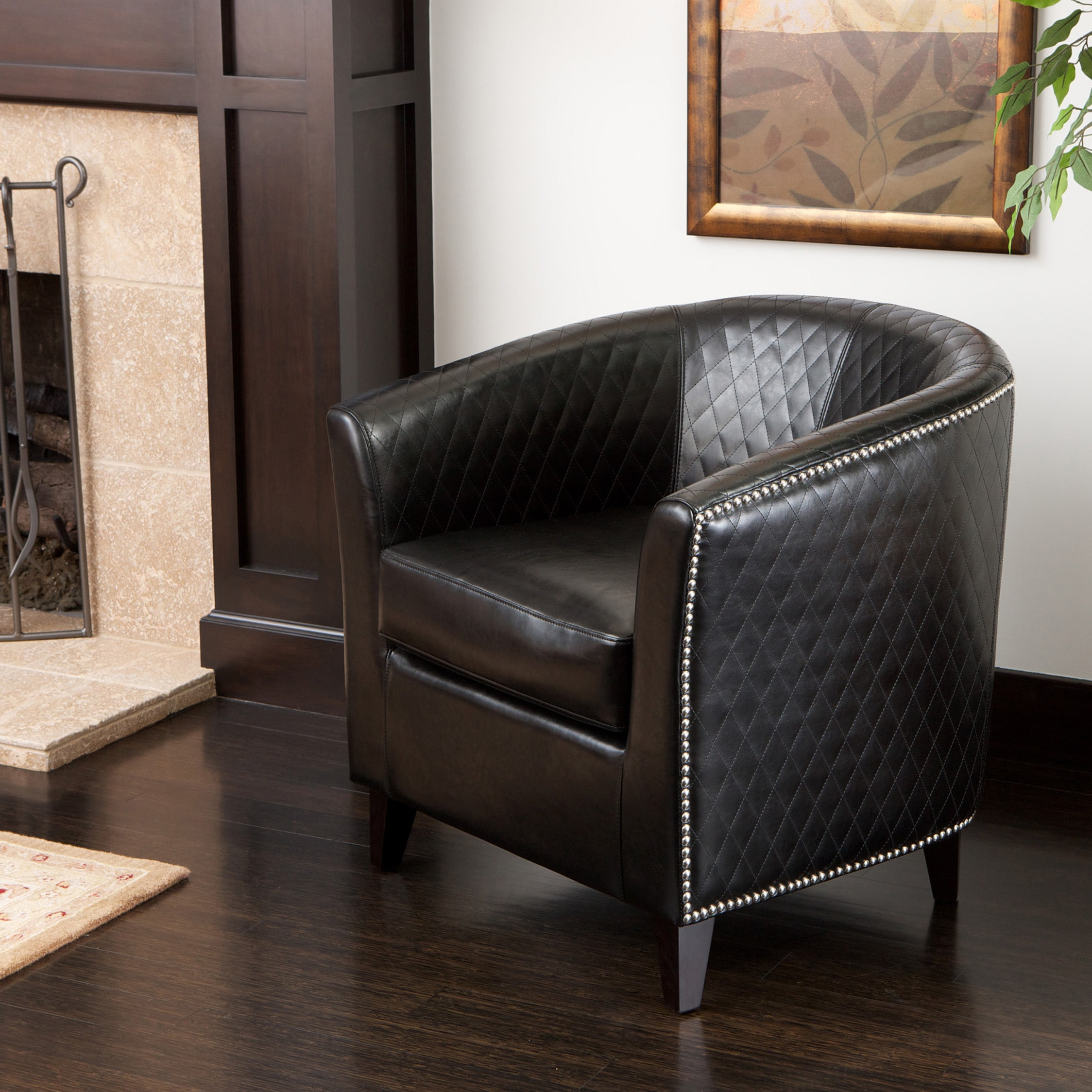 Christopher Knight Home Mia Black Bonded Leather Quilted Club Chair & Buy Club Chairs Black Living Room Chairs Online at Overstock.com ...
