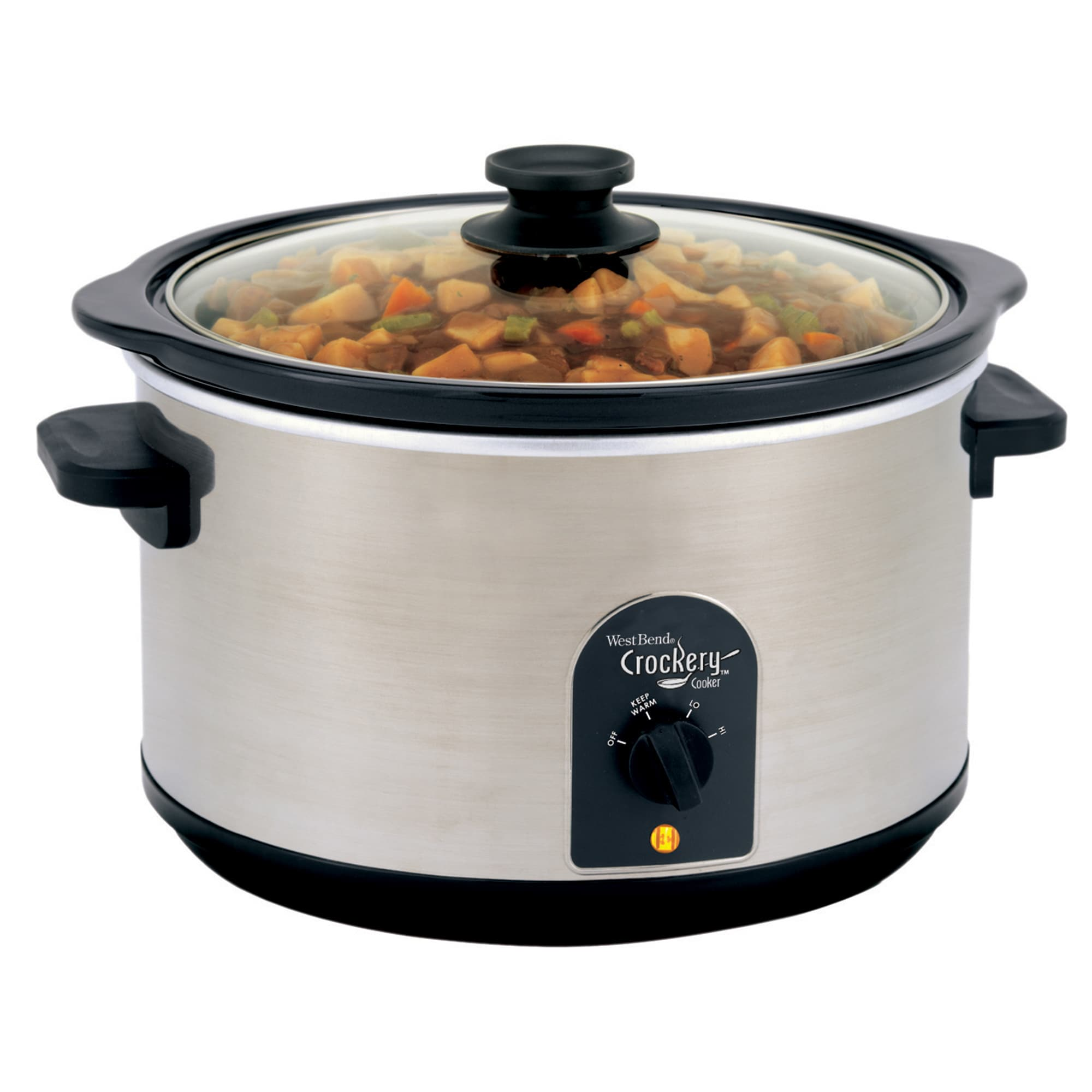 West Bend 6 Quart Round Crockery Cooker, Silver stainless...