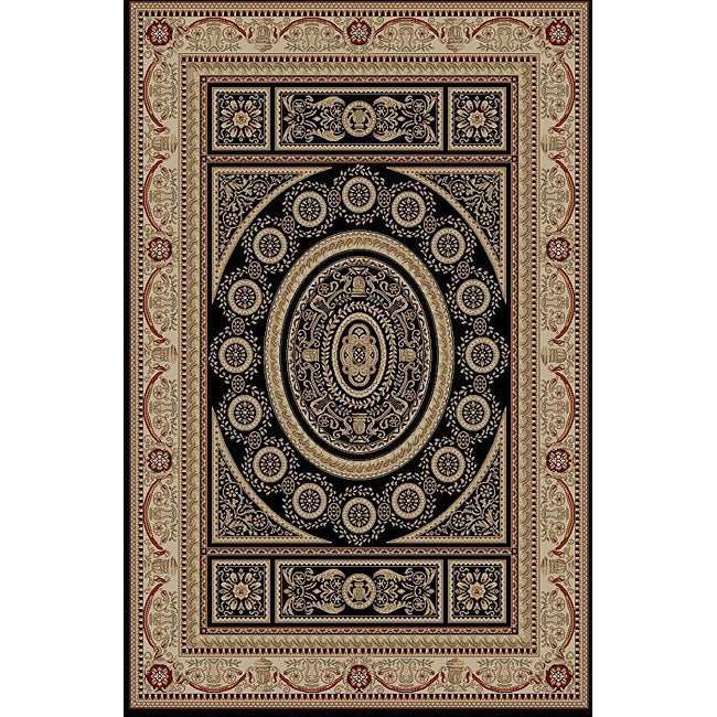 Aubusson Black Oriental Rug (7'10 x 9'10)