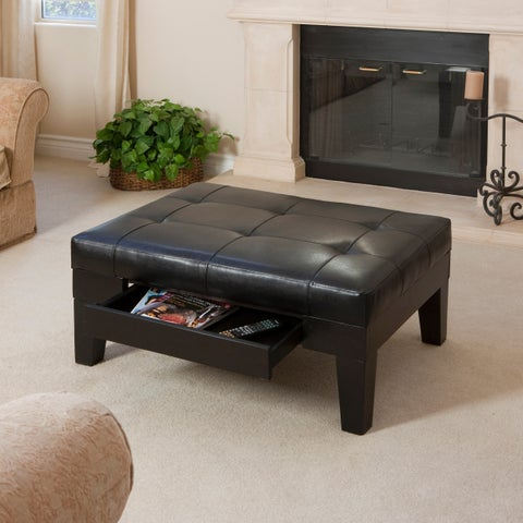 Chatham Black Bonded Leather Storage Ottoman by Christopher Knight Home