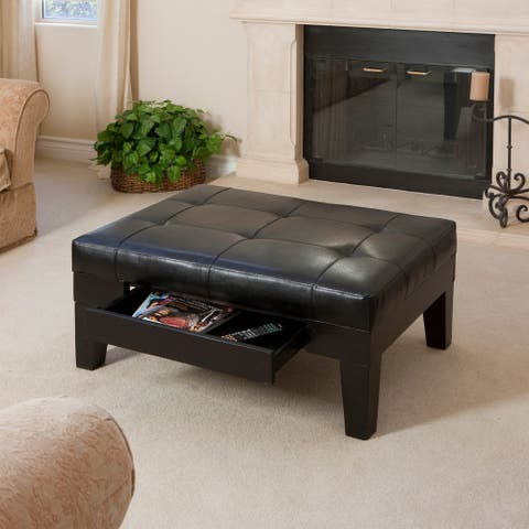 Chatham Espresso Bonded Leather Storage Ottoman by Christopher Knight Home