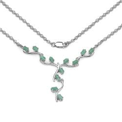 Malaika Sterling Silver Marquise-cut Emerald Leaf and Branch Necklace