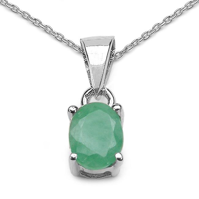 Malaika Sterling Silver Oval-cut Emerald Necklace