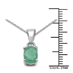 Malaika Sterling Silver Oval-cut Emerald Necklace - Thumbnail 2