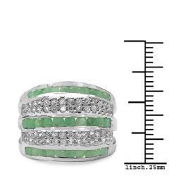 Malaika Sterling Silver Emerald and White Topaz Split Band Ring