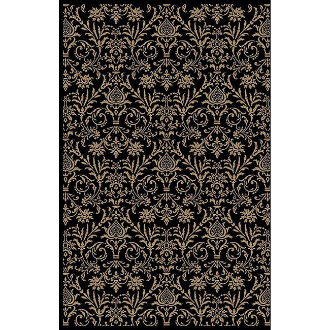 Damask Black Oriental Rug (7'10 x 9'10)