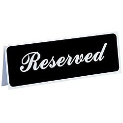 Vollrath 3 x 8-inch Plastic Reserved Sign