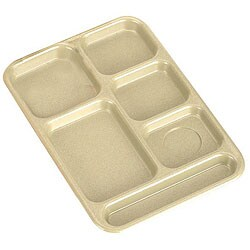 Cambro 10 x 14 Beige 6-Compartment Tray (Case of 24)