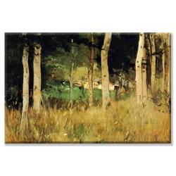 Berthe Morisot 'The Cottage Amongst the Birch Trees' 14x21-inch Canvas Art - Thumbnail 2
