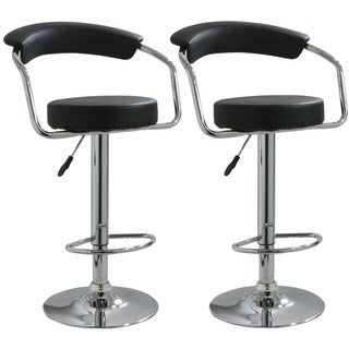 AmeriHome Round Black Padded Bar Stools (Set of 2)