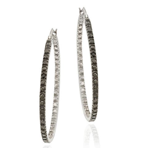DB Designs Sterling Silver 32-mm Black Diamond Accent Hoop Earrings
