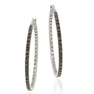 DB Designs Sterling Silver 32-mm Black Diamond Accent Hoop Earrings