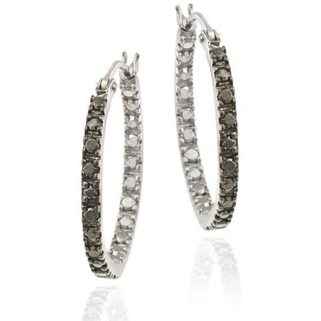 d250bb14fef36 DB Designs Sterling Silver 20-mm Black Diamond Accent Hoop Earrings