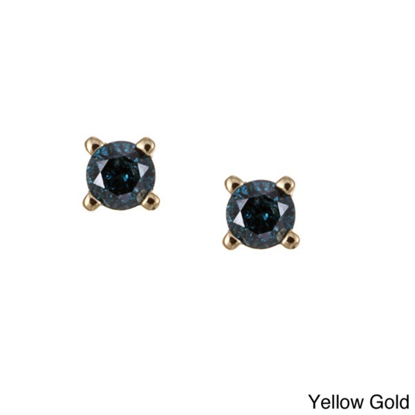 Unending Love 10k Gold 1/8ct TDW Blue Diamond Earrings