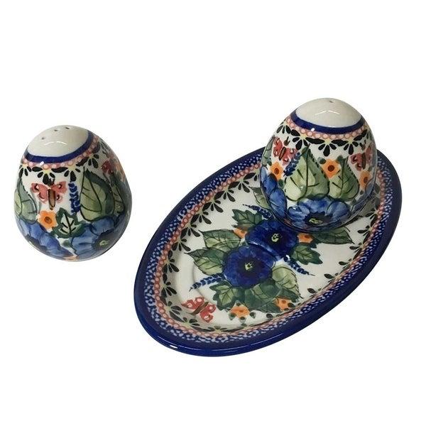 Handmade Stoneware Salt and Pepper Shaker Set (Poland). Opens flyout.