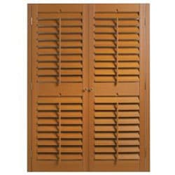 "Oak Fauxwood Shutters 23"" (fits up to 25"" window) x 24"" - Thumbnail 1"