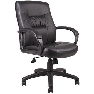 Boss Executive Mid-back LeatherPlus Bonded Leather Chair