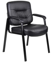 Boss Executive Mid-back LeatherPlus Bonded Leather Guest Chair