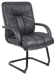 Boss Italian Leather Mid-Back Guest Chair - Thumbnail 1