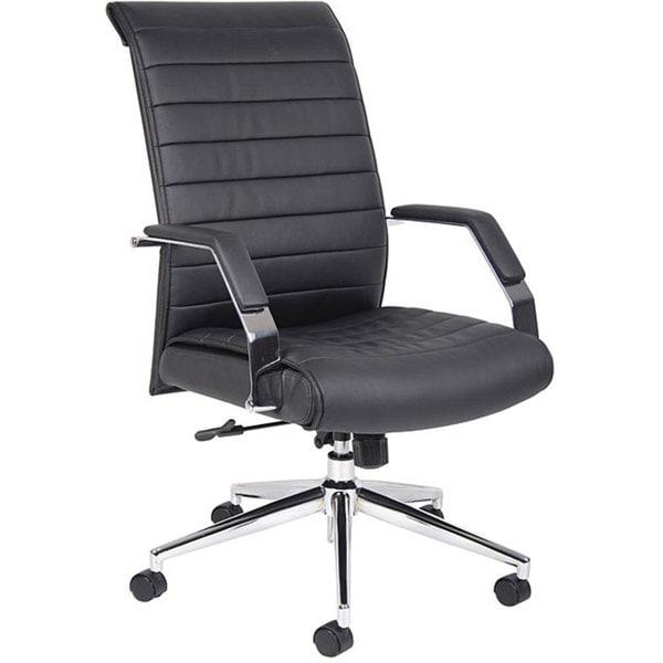 Boss Black Ribbed High-back Chrome-base Adjustable Executive Chair