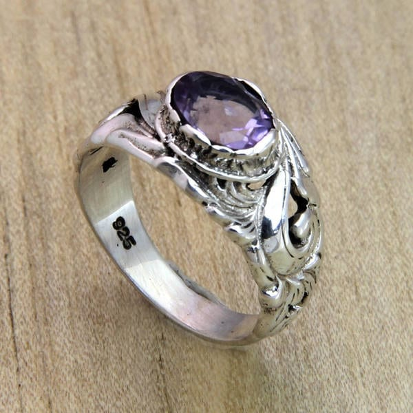 Handmade Sterling Silver 'Feminine Charm' Amethyst Solitaire Ring (Indonesia)
