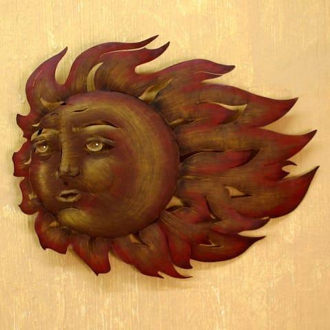 The Sun's Song Indoor Outdoor Patio Garden Brown Orange Rus Decor Accent Sun with Fla