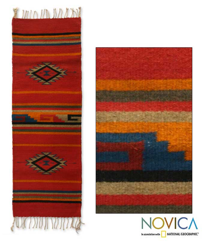 Shop Handmade Mexican 'Crimson Sun' Zapotec Wool Rug
