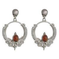 Handmade Sterling Silver 'Temple of Light' Amber Dangle Earrings (Indonesia)