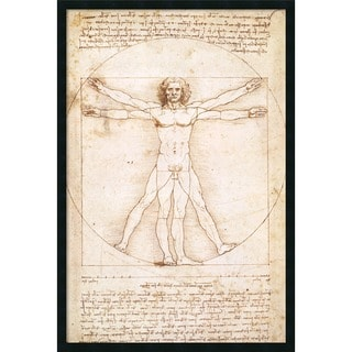 Leonardo da Vinci 'Proportions of the Human Figure (Vitruvian Man)' Framed Art Print with Gel Coated Finish