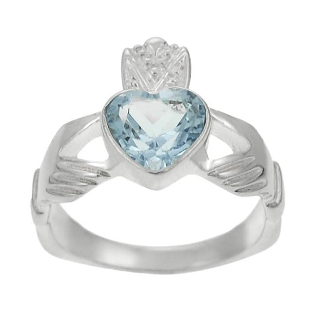 Journee Collection Sterling Silver Blue Topaz Claddagh Ring