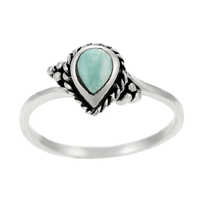 Journee Collection  Sterling Silver Pear-cut Turquoise Ring - Thumbnail 0