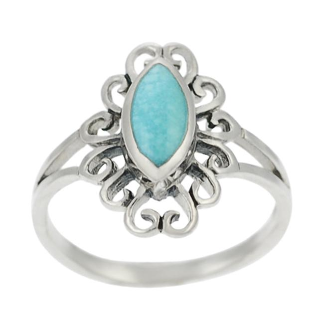 Journee Sterling Silver Marquise-cut Turquoise Ring - Thumbnail 0