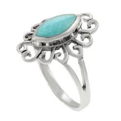 Journee Sterling Silver Marquise-cut Turquoise Ring - Thumbnail 1