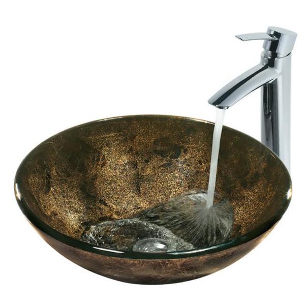 VIGO Sintra Glass Vessel Sink and Faucet Set in Chrome