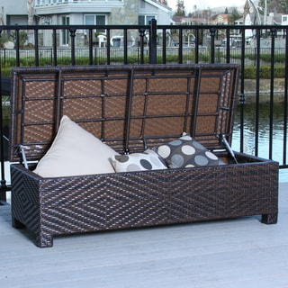 Santiago Brown Wicker Storage Ottoman by Christopher Knight Home