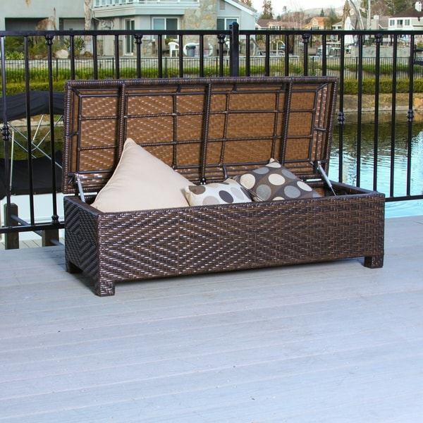 Santiago Brown Wicker Storage Ottoman by Christopher Knight Home. Opens flyout.