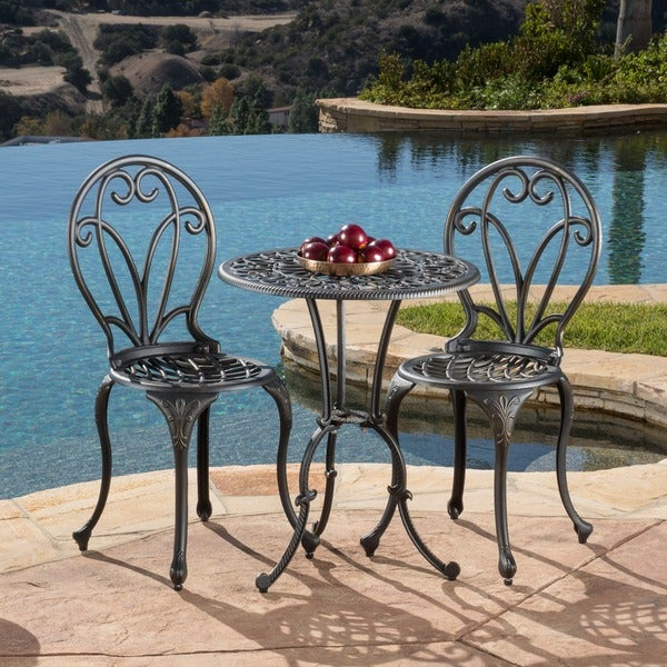 Thomas Cast Aluminum Dark Gold 3-piece Bistro Set by Christopher Knight Home
