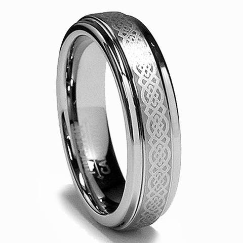Women's Tungsten Carbide Laser-etched Celtic Design Ring (5 mm)
