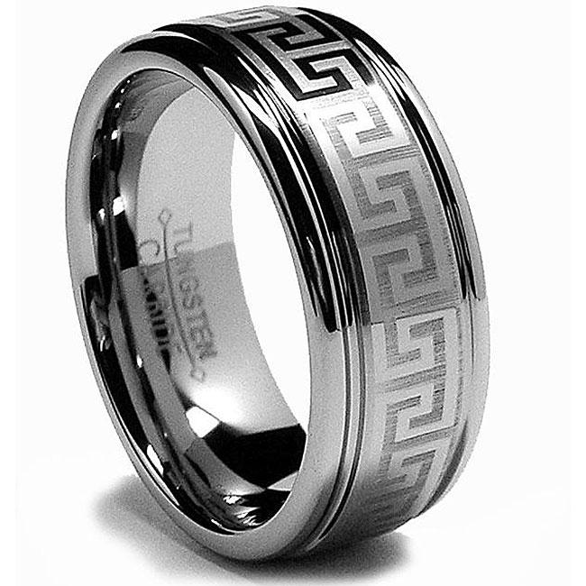 Greek Key Design Ring | Shop Men S Tungsten Carbide Laser Etched Greek Key Design Ring 8 Mm