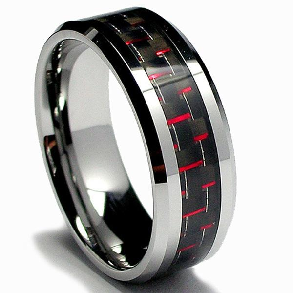 Men's Tungsten Carbide Black and Red Carbon Fiber Inlay Ring (8 mm) - Thumbnail 0
