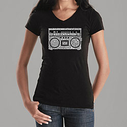 Los Angeles Pop Art Women's Boom Box V-neck Shirt