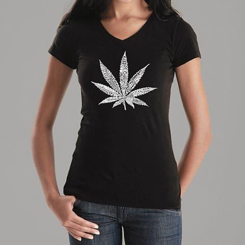 Los Angeles Pop Art Women's Leaf V-neck Shirt