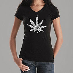 Los Angeles Pop Art Women's Leaf V-neck Shirt