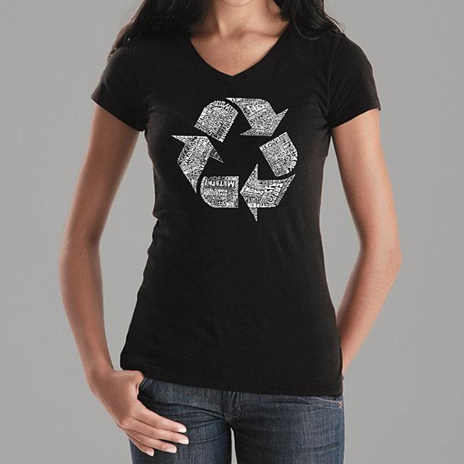 Los Angeles Pop Art Women's Recycle V-neck Shirt