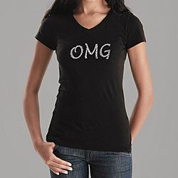 Los Angeles Pop Art Women's OMG V-neck Shirt