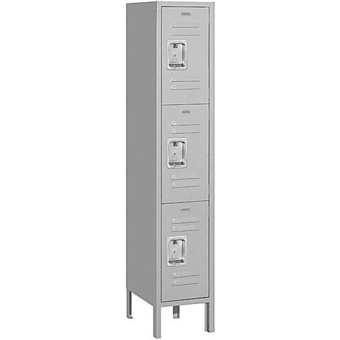 Triple-Tier 5-Foot Grey 16-Gauge Standard Steel Locker